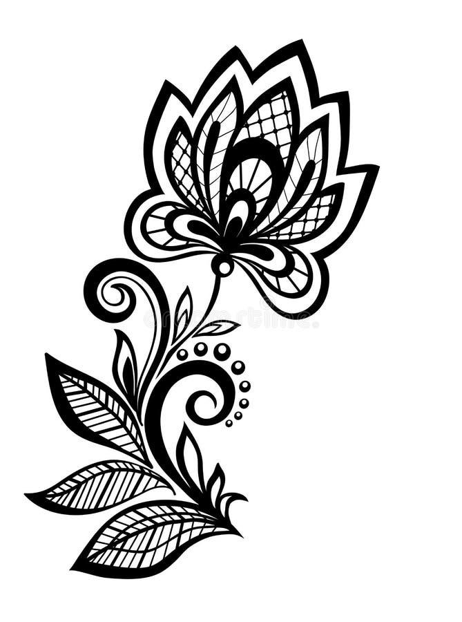 Elemento floral preto e branco do projeto do teste padrão. ilustração royalty free