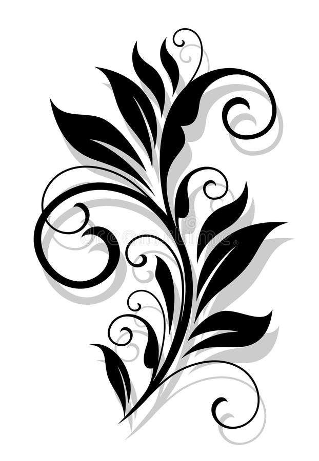 Elemento floral retro ilustración del vector