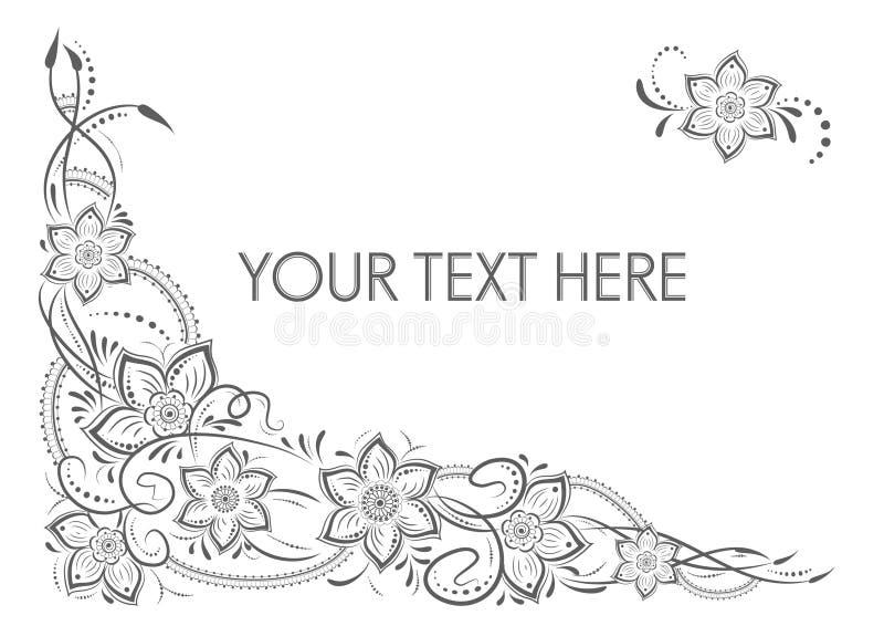 Elemento floreale d'annata di lusso elegante illustrazione vettoriale