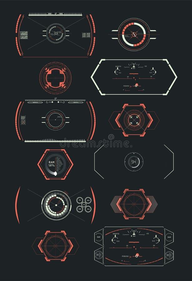 Elemento futurista de Hud Fije de ciencia ficción futurista de la tecnología de Digitaces del extracto del círculo UI HUD Virtual stock de ilustración