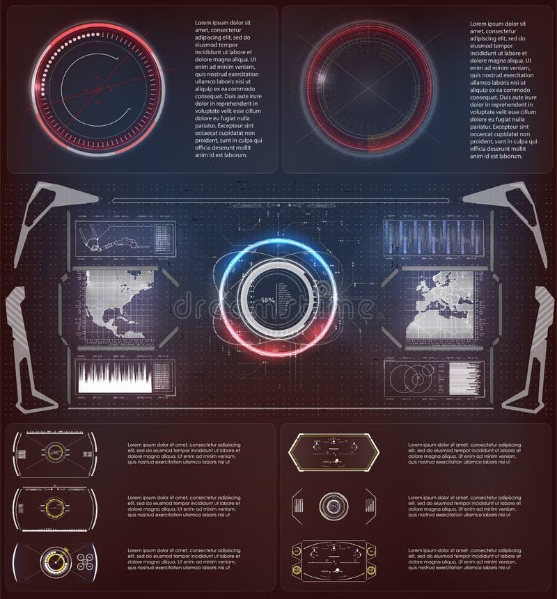 Elemento futurista de Hud Fije de la tecnología de Digitaces del extracto del círculo UI HUD Virtual Interface futurista stock de ilustración