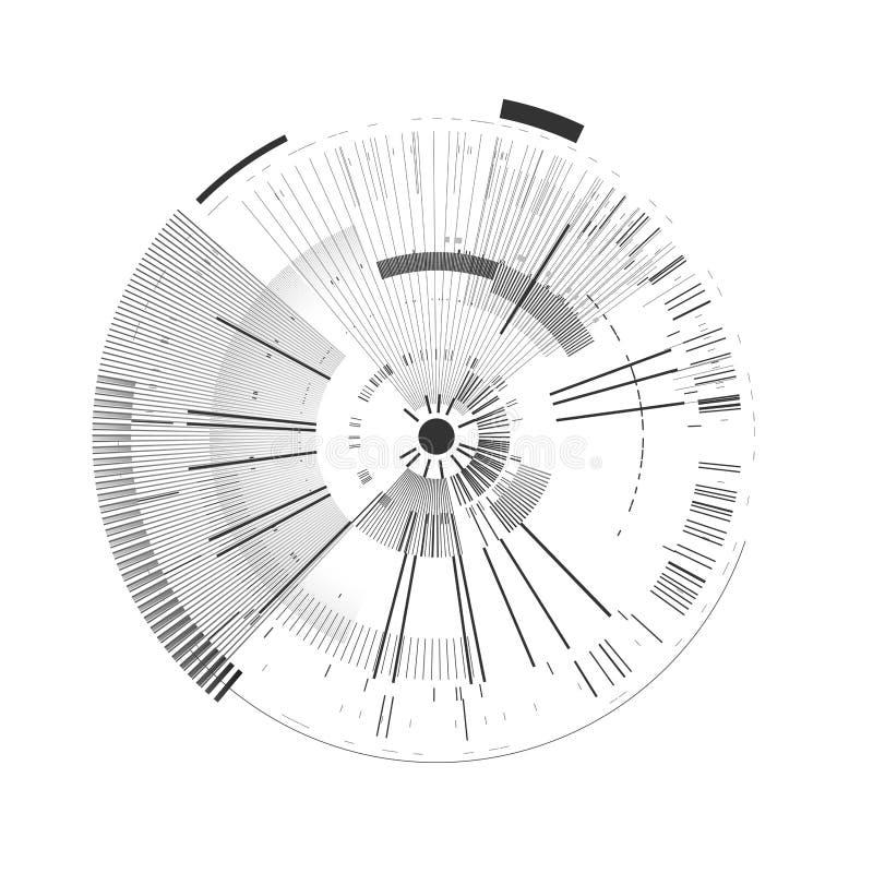 Elemento futurista del interfaz Círculo de la tecnología Interfaz de usuario futurista de Digitaces HUD Plantilla de Sci fi aisla ilustración del vector