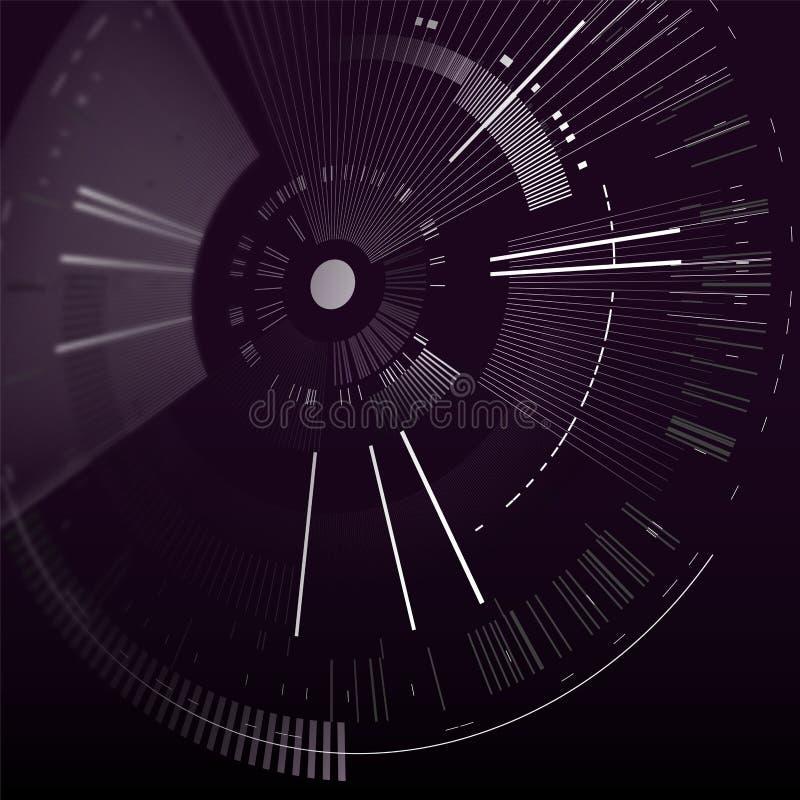 Elemento futurista del interfaz en perspectiva Círculo de la tecnología Interfaz de usuario futurista de Digitaces HUD Plantilla  ilustración del vector