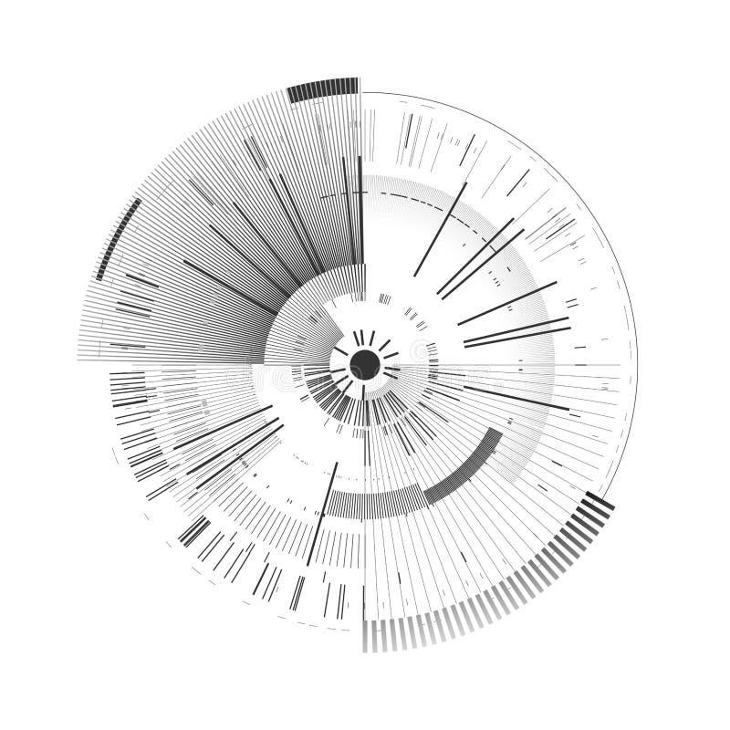 Elemento futuristico dell'interfaccia Cerchio di tecnologia Interfaccia utente futuristica di Digital HUD Fondo bianco isolato mo illustrazione di stock