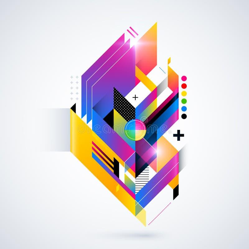 Elemento geométrico abstrato com inclinações coloridos e luzes de incandescência Projeto futurista incorporado, útil para apresen ilustração stock