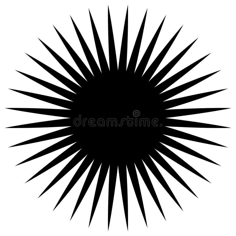 Elemento geométrico circular de raios radiais, linhas Bla abstrato ilustração stock