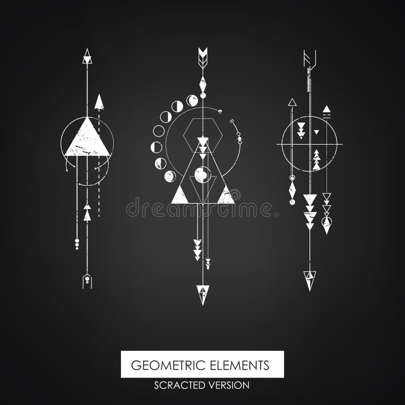 Elemento geométrico de alta calidad Versión de Scrathed ilustración del vector