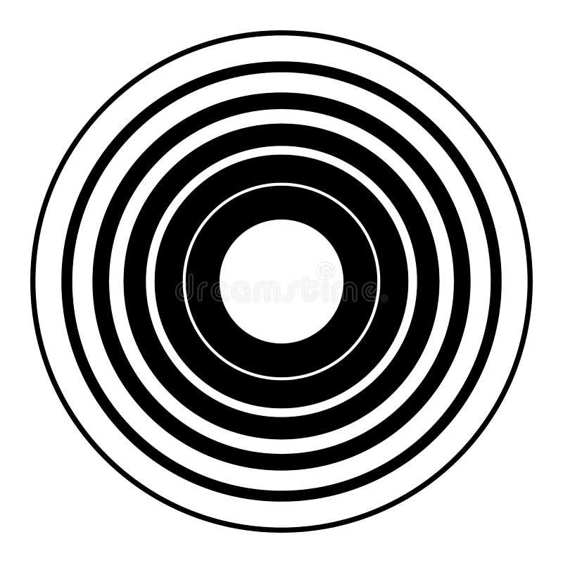 Elemento geométrico de los círculos concéntricos Parte radial, irradiando la circular stock de ilustración