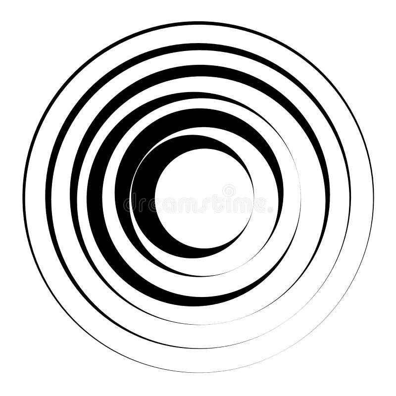 Elemento geométrico de los círculos concéntricos Parte radial, irradiando la circular ilustración del vector