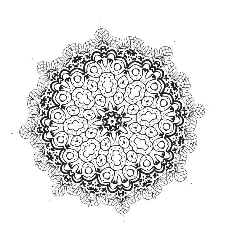 Elemento geométrico del círculo Mandala para las tarjetas, el fondo y los sitios del día de fiesta de la decoración Caleidoscopio ilustración del vector