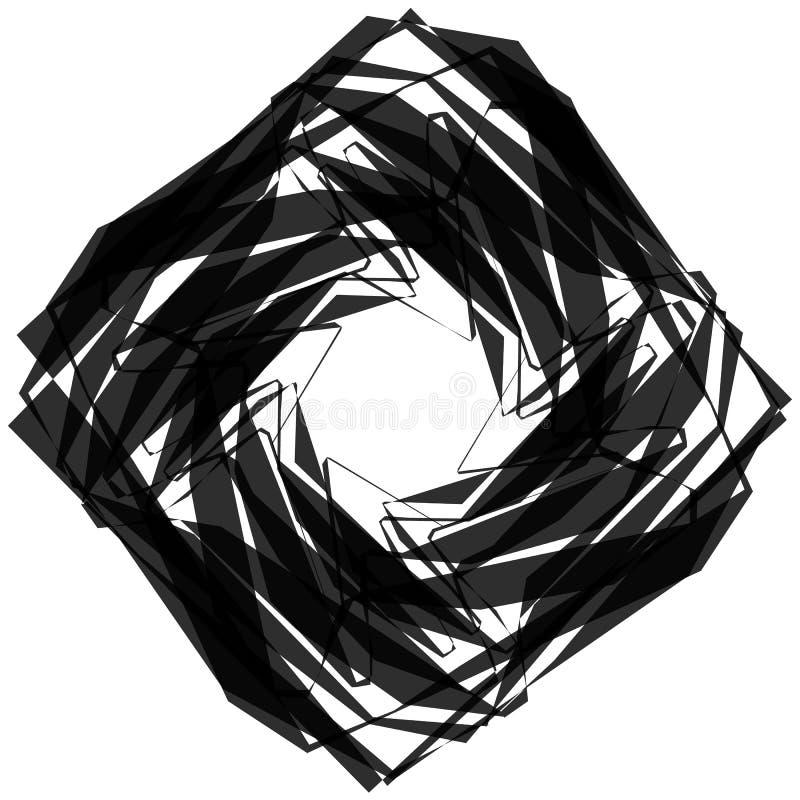Elemento geométrico monocromático nervoso, angular Gráficos abstratos ilustração royalty free