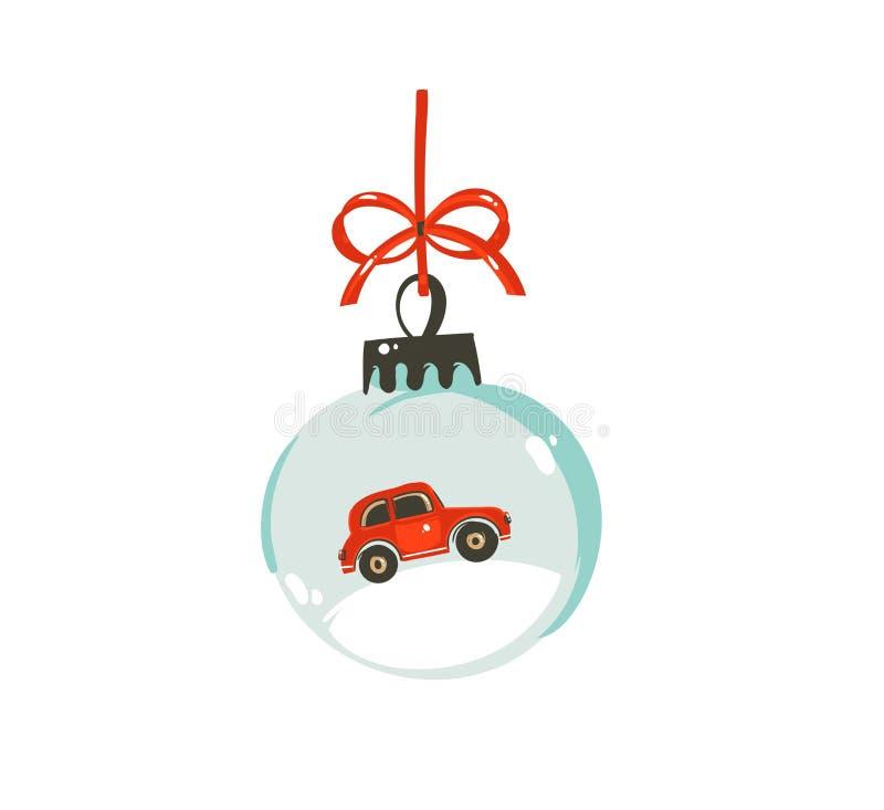 Elemento gráfico dibujado mano del diseño del ejemplo de la historieta del tiempo de la Feliz Navidad del vector con la bola de c ilustración del vector