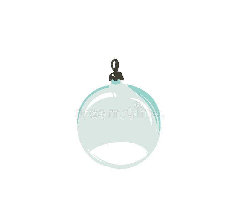 Elemento gráfico tirado mão do projeto da ilustração dos desenhos animados do tempo do Feliz Natal do vetor com o globo de vidro  ilustração stock