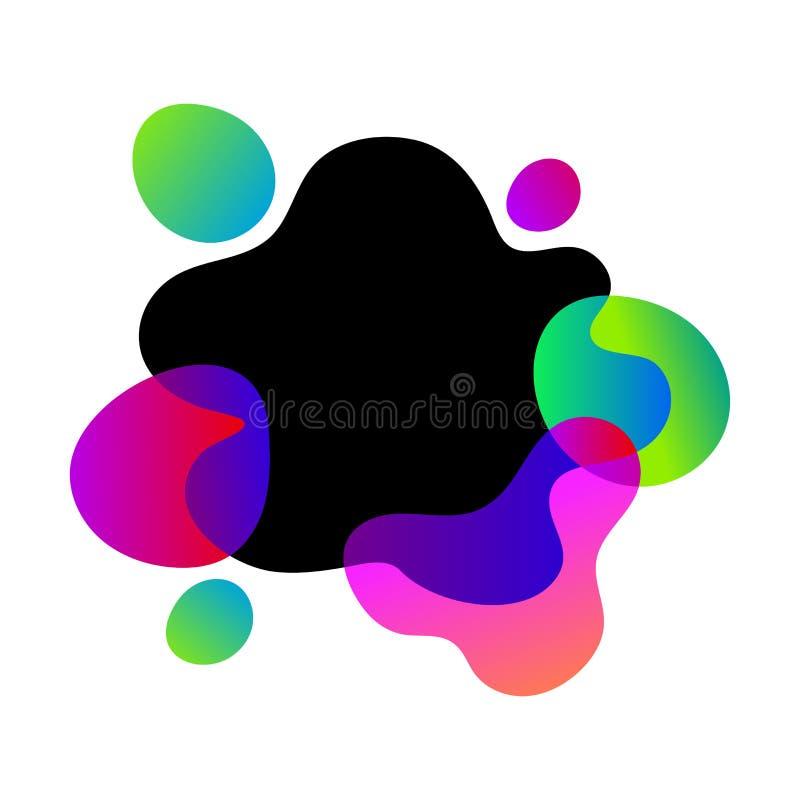 Elemento grafico moderno dell'estratto di vettore Liquido colorato pendenza dinamica, forme organiche di effetti, pagina liquida  illustrazione vettoriale