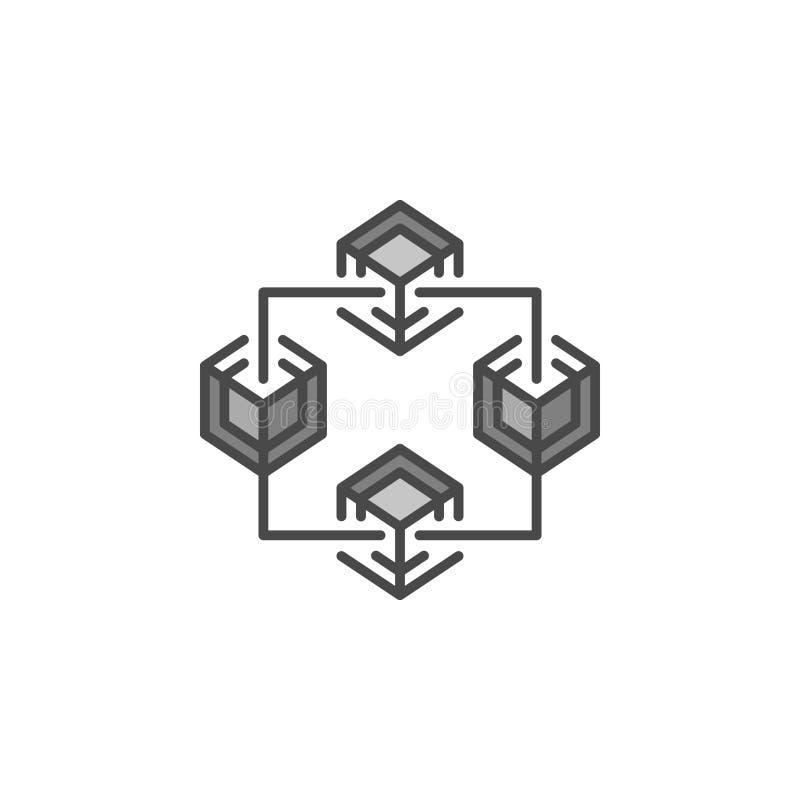Elemento gris del icono o del diseño del vector de la tecnología de Blockchain ilustración del vector