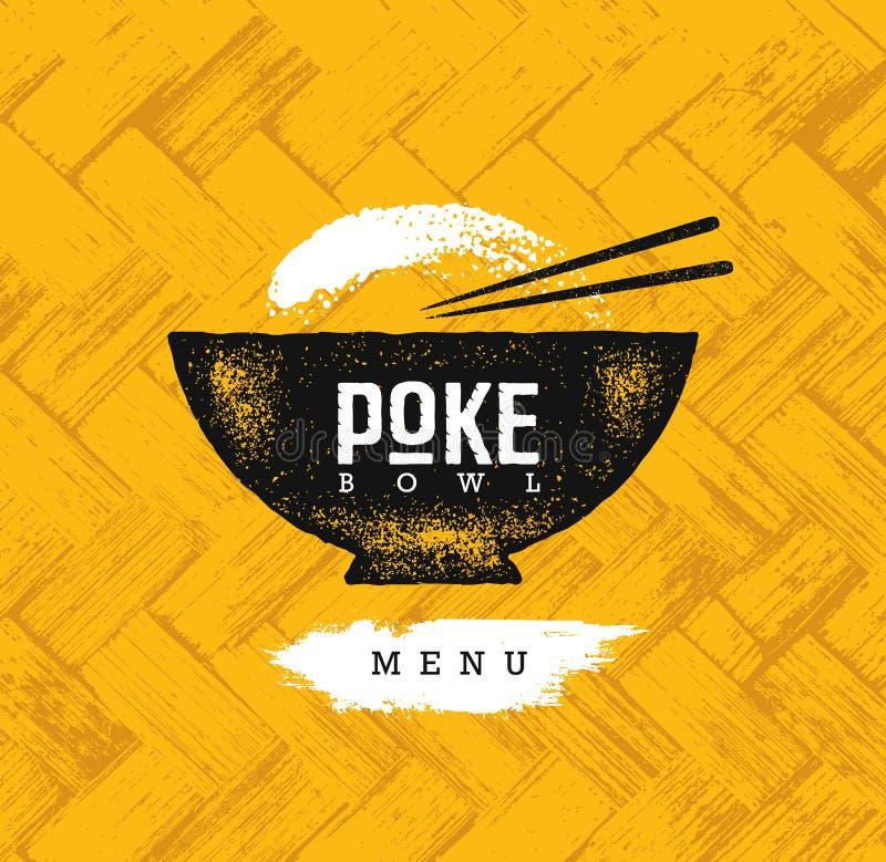 Elemento hawaiano del diseño del vector del restaurante de la cocina del cuenco del empuje Ejemplo áspero creativo del menú sano  libre illustration