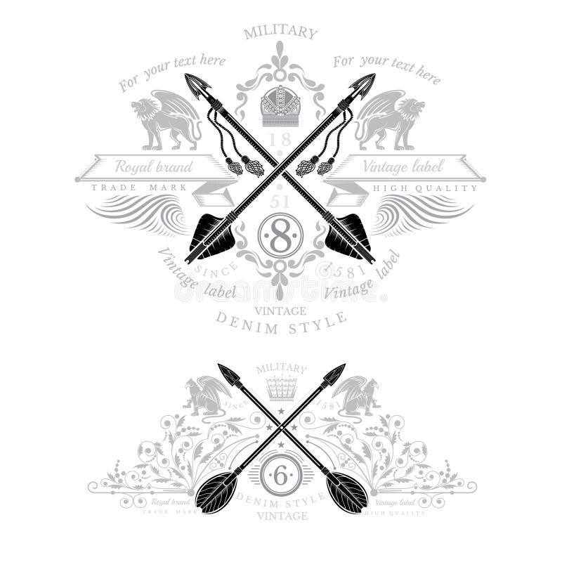 Elemento heráldico de dois vintages com setas transversais e o animal mítico ilustração do vetor