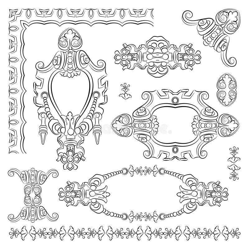 Elemento heráldico del diseño decorativo de viejo stock de ilustración