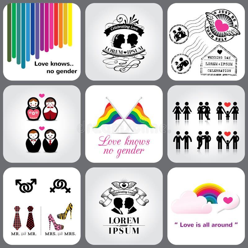 Elemento homosexual y lesbiano del icono y del diseño libre illustration