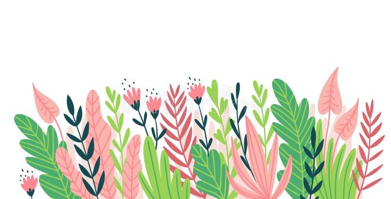 Elemento horizontal do projeto para o cartão, o convite ou o inseto Frame natural Ilustração do vetor com flores e as folhas trop ilustração stock
