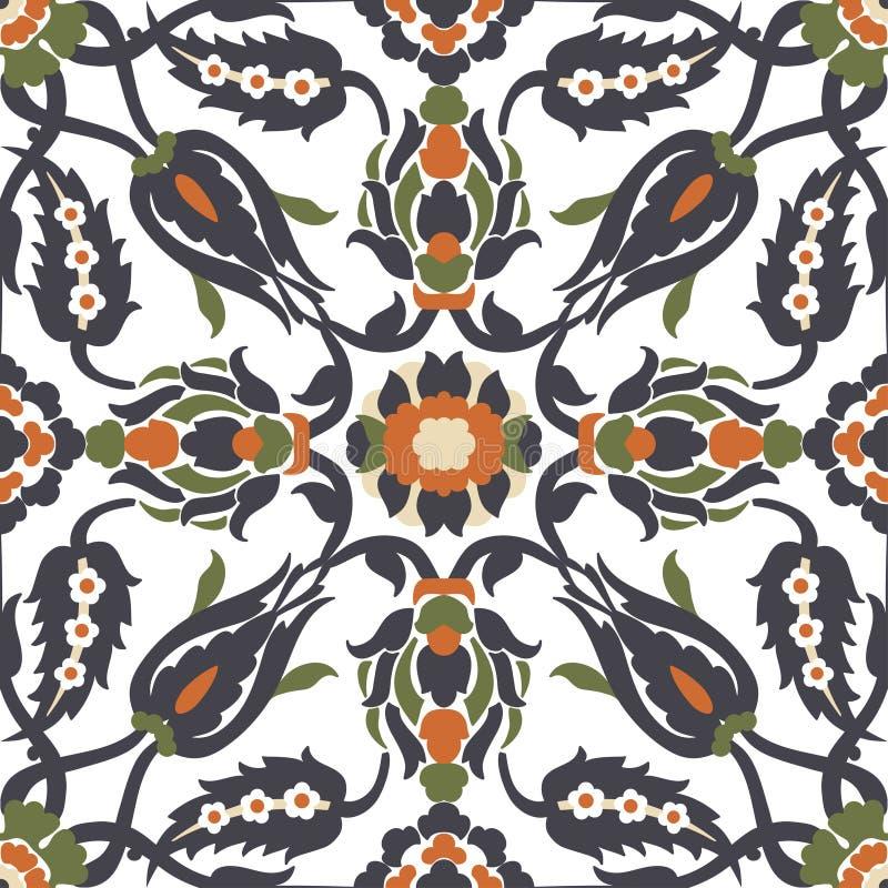 Elemento inconsútil adornado floral de la decoración del vintage del Arabesque para el desig ilustración del vector
