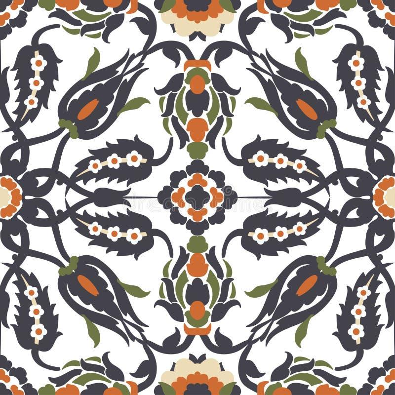 Elemento inconsútil adornado floral de la decoración del vintage del Arabesque para el desig stock de ilustración