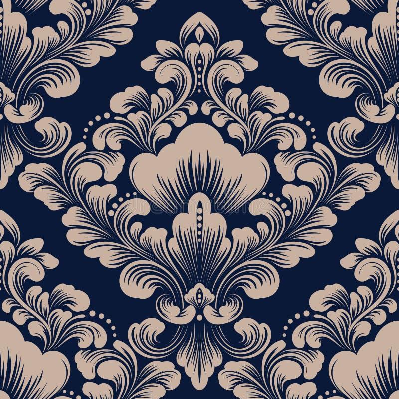 Elemento inconsútil del modelo del damasco del vector Ornamento pasado de moda de lujo clásico del damasco, textura inconsútil de stock de ilustración