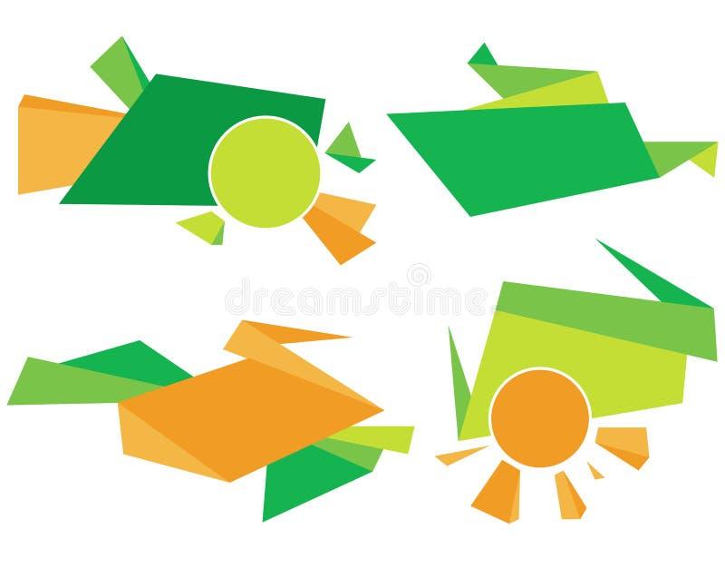 Elemento incorporado verde e alaranjado Projeto gráfico abstrato colorido de vetor ilustração do vetor