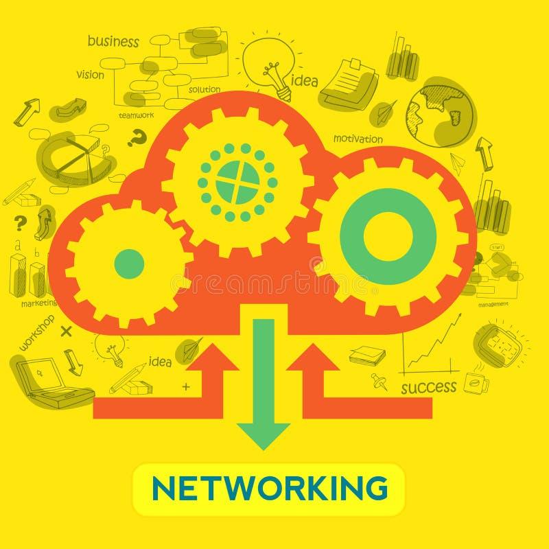 Elemento infographic creativo para el concepto del establecimiento de una red stock de ilustración