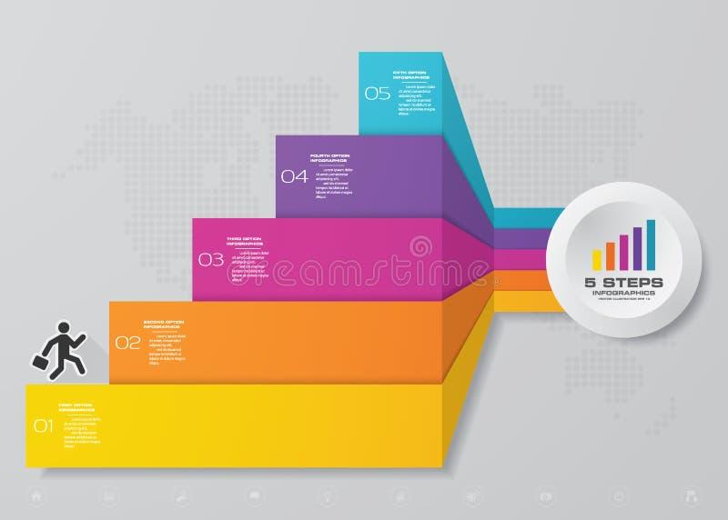 elemento infographic de la carta de la escalera de 5 pasos para la presentación ilustración del vector