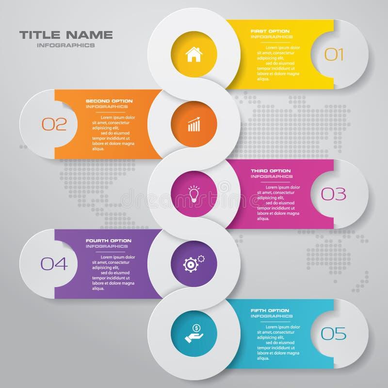 elemento infographic de la cronología de 5 pasos EPS 10 ilustración del vector