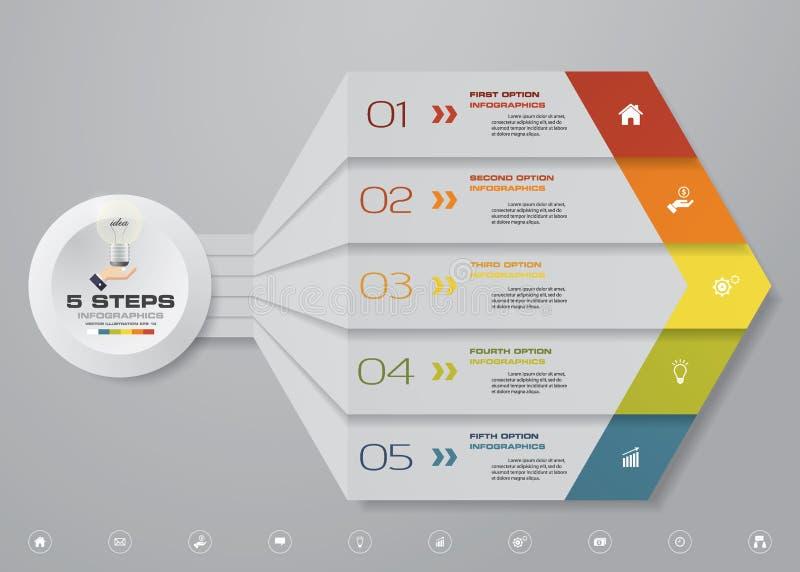 elemento infographic de la flecha de 5 pasos para la presentación stock de ilustración