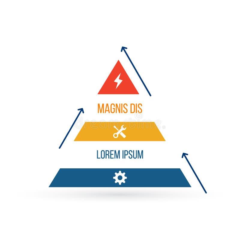 elemento infographic del triángulo carta plana, diagrama, esquema, gráfico con 3 pasos y flechas, opciones, piezas, procesos con  ilustración del vector