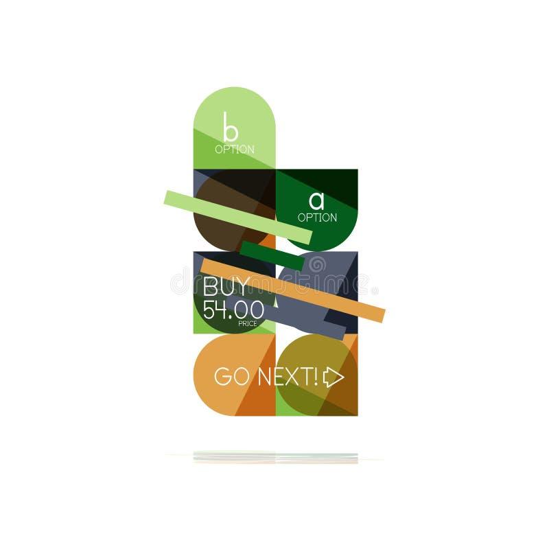 Elemento infographic di progettazione di punto astratto pulito piano minimo di opzione, forme geometriche - quadrati rotondi, cer illustrazione di stock