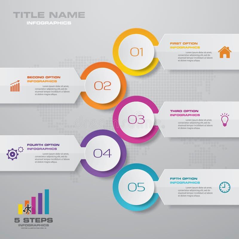elemento infographic do espaço temporal de 5 etapas Eps 10 ilustração royalty free