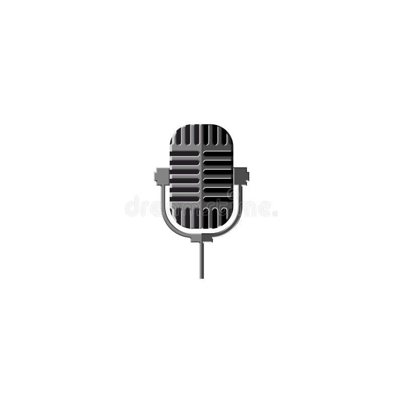 Elemento isolado do projeto do metal microfone velho para um logotipo de uma estação de rádio ou de um clube do karaoke, ícone vi ilustração do vetor