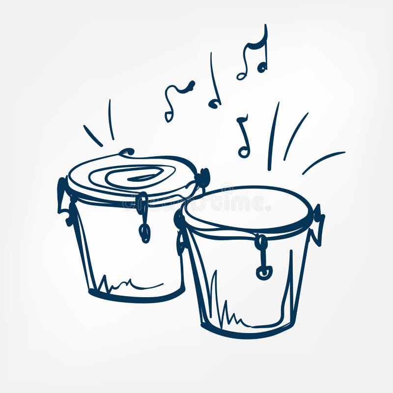 Elemento isolado ilustração do projeto do vetor do esboço dos bongos ilustração do vetor