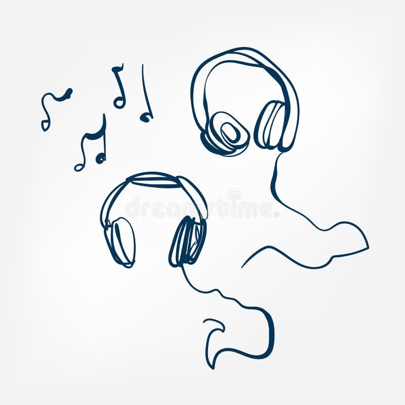Elemento isolado ilustração do projeto do vetor do esboço dos fones de ouvido ilustração do vetor