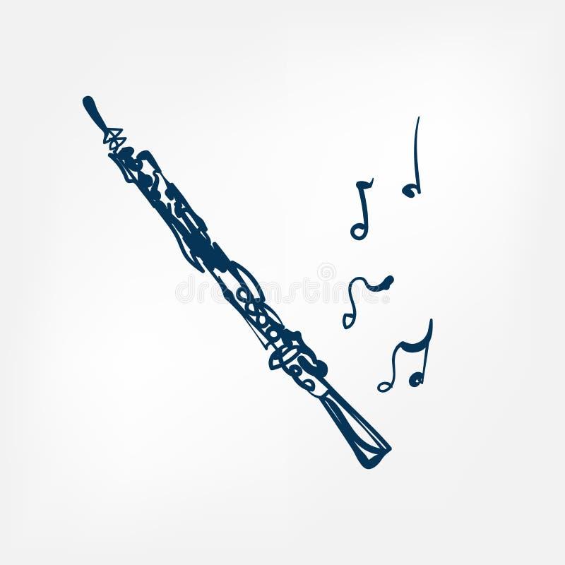 Elemento isolado ilustração do projeto do vetor do esboço do oboé ilustração royalty free