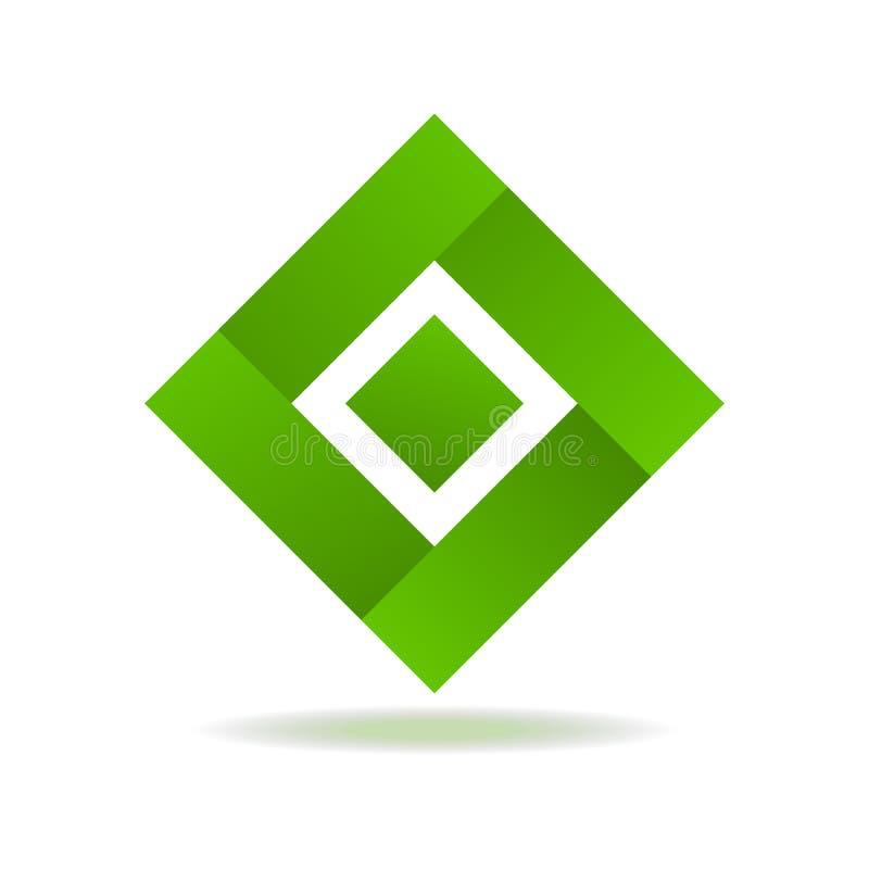 Elemento isolato estratto quadrato verde per il logo illustrazione di stock