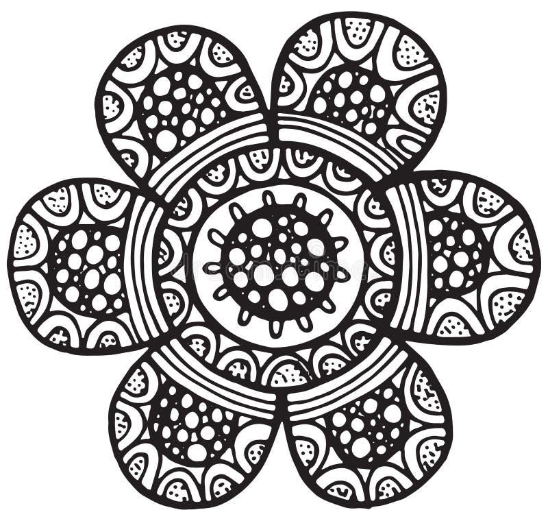 Elemento isolato vettore della mandala del fiore illustrazione di stock