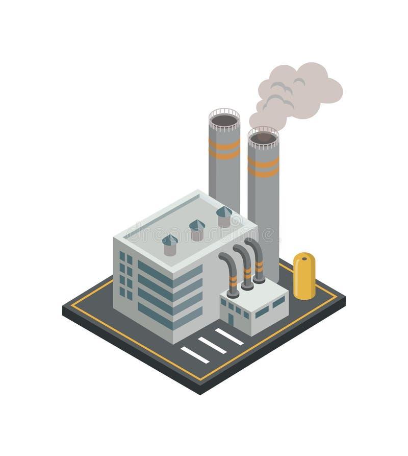 Elemento isométrico 3D de la fábrica de productos químicos stock de ilustración