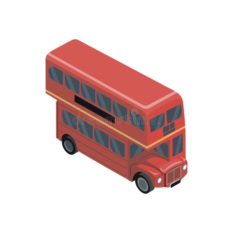 Elemento isométrico 3D del autobús rojo del autobús de dos pisos libre illustration