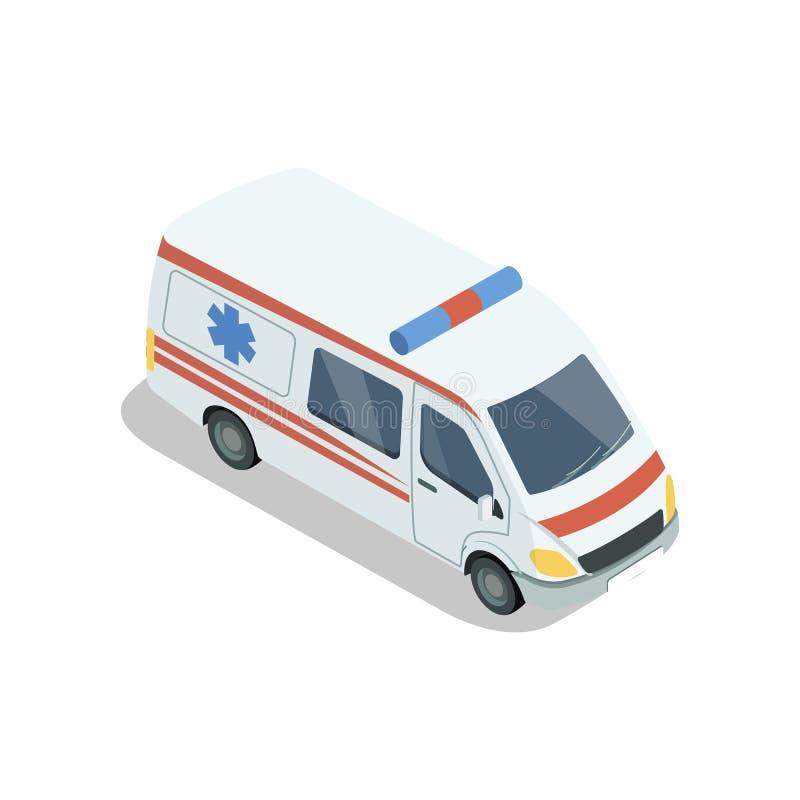 Elemento isométrico 3D del coche de la ambulancia