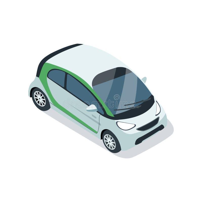 Elemento isométrico 3D del pequeño coche de la ciudad ilustración del vector