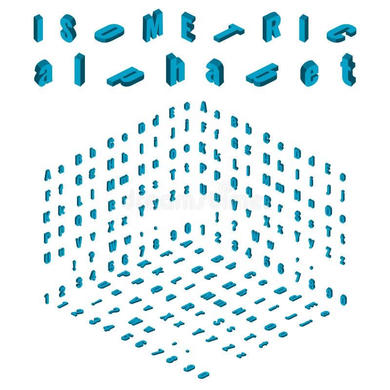 Elemento isométrico do alfabeto e da fonte, o pequeno e o grande de letras do projeto ilustração stock