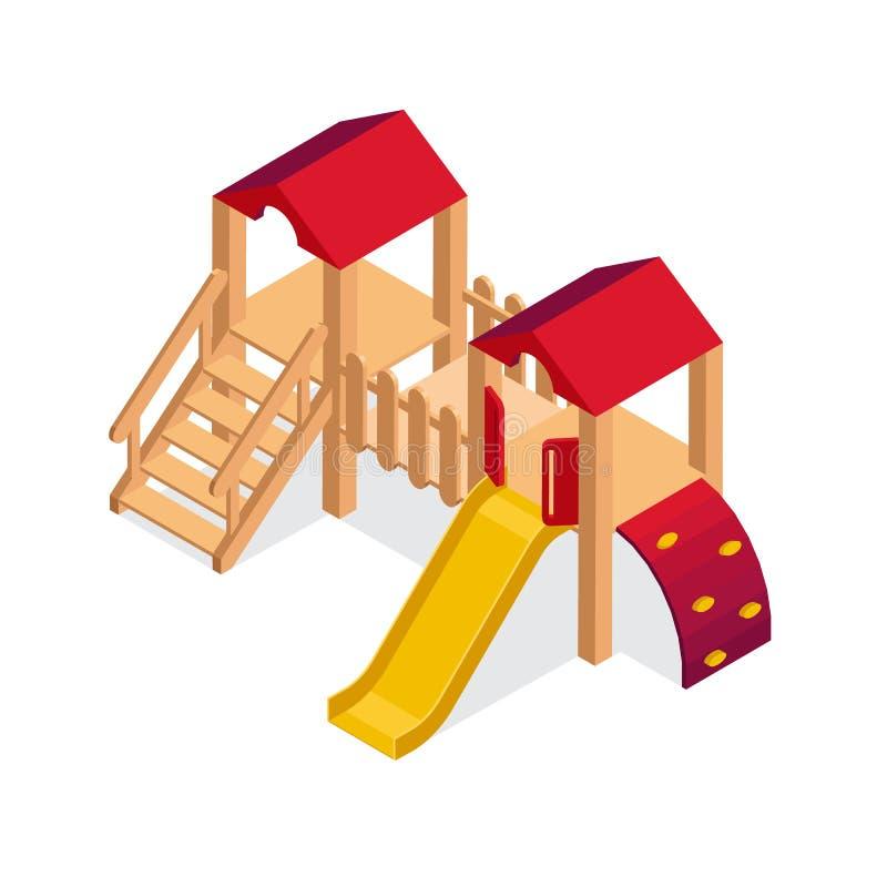 Elemento isometrico della costruzione del campo da giuoco Icona di vettore dello scorrevole dei bambini illustrazione di stock