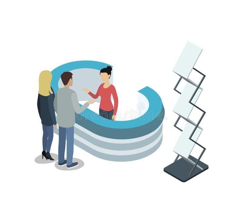 Elemento isometrico interno 3D dell'entrata della società royalty illustrazione gratis