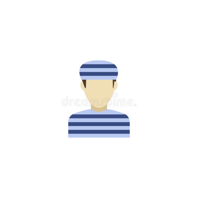 Elemento liso do condenado do ícone Ilustração do vetor do prisioneiro liso do ícone isolado no fundo limpo Pode ser usado como ilustração stock