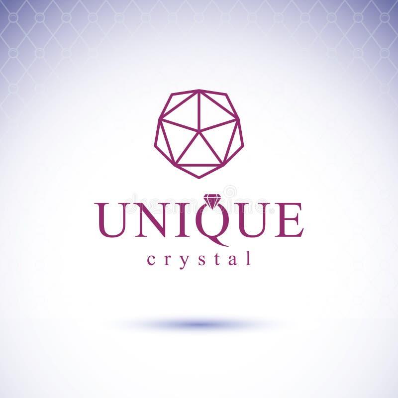 Elemento lucido di progettazione della pietra preziosa di vettore Emblema di lusso del diamante, IL illustrazione di stock